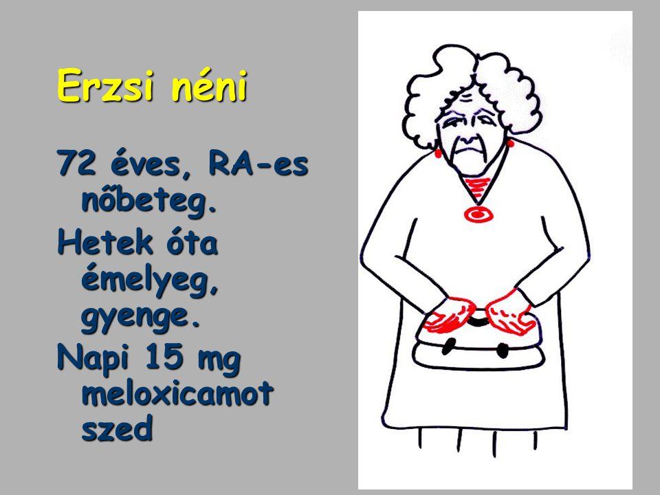 NSAID gastropathiára veszélyeztetett: Idős betegek (>65 éves) Ulcus az anamnézisben Steroid-szedők NSAID vérzés az anamnézisben Valamint: dohányzás, alkohol, kisérőbetegségek, gyógyszerek