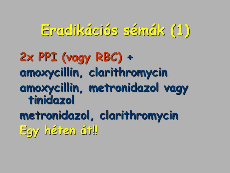 Eradikációs sémák (1) 2x PPI (vagy RBC) + amoxycillin, clarithromycin amoxycillin, metronidazol vagy tinidazol metronidazol, clarithromycin Egy héten
