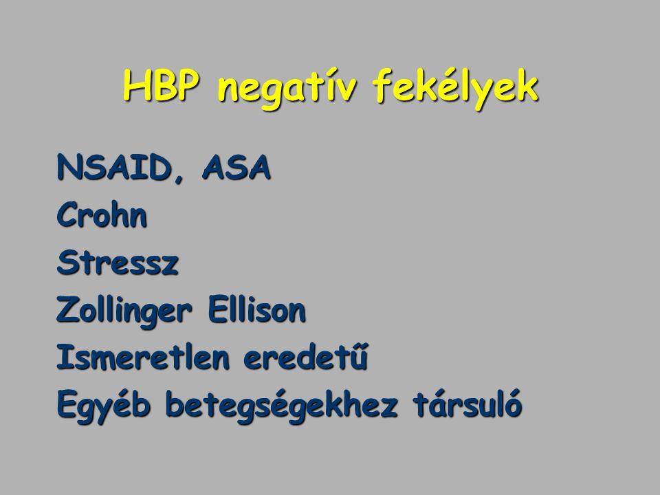 HBP negatív fekélyek NSAID, ASA CrohnStressz Zollinger Ellison Ismeretlen eredetű Egyéb betegségekhez társuló