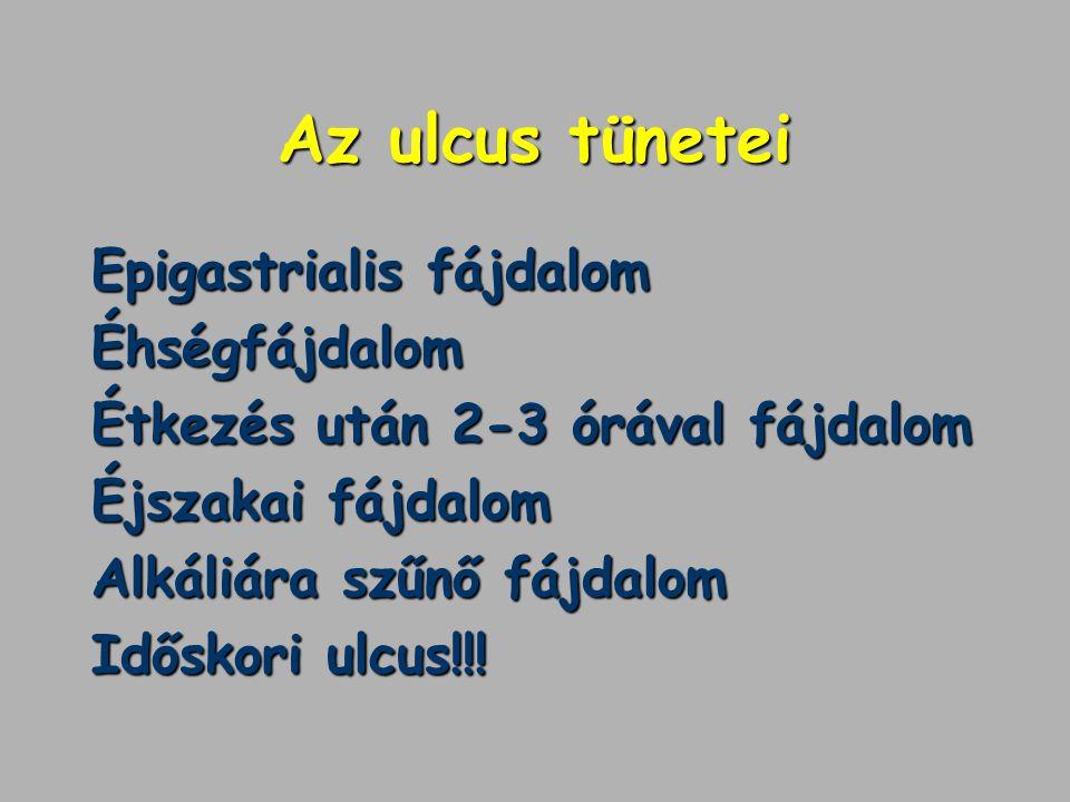 Az ulcus tünetei Epigastrialis fájdalom Éhségfájdalom Étkezés után 2-3 órával fájdalom Éjszakai fájdalom Alkáliára szűnő fájdalom Időskori ulcus!!!