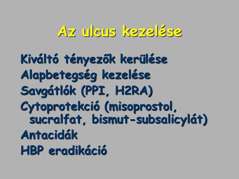 Az ulcus kezelése Kiváltó tényezők kerülése Alapbetegség kezelése Savgátlók (PPI, H2RA) Cytoprotekció (misoprostol, sucralfat, bismut-subsalicylát) An