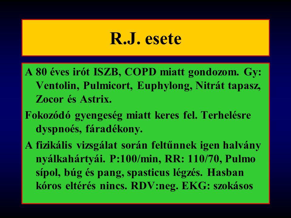 R.J. esete A 80 éves irót ISZB, COPD miatt gondozom. Gy: Ventolin, Pulmicort, Euphylong, Nitrát tapasz, Zocor és Astrix. Fokozódó gyengeség miatt kere