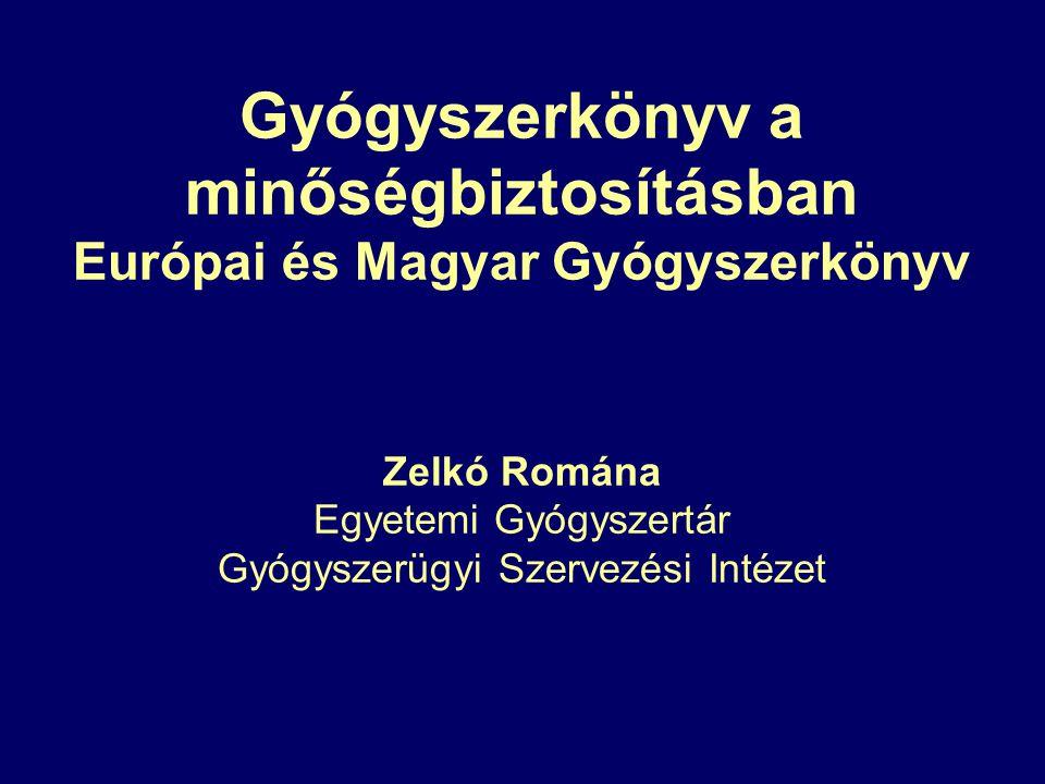 Gyógyszerkönyv a minőségbiztosításban Európai és Magyar Gyógyszerkönyv Zelkó Romána Egyetemi Gyógyszertár Gyógyszerügyi Szervezési Intézet