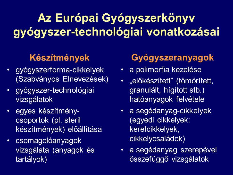 Az Európai Gyógyszerkönyv gyógyszer-technológiai vonatkozásai Készítmények gyógyszerforma-cikkelyek (Szabványos Elnevezések) gyógyszer-technológiai vi