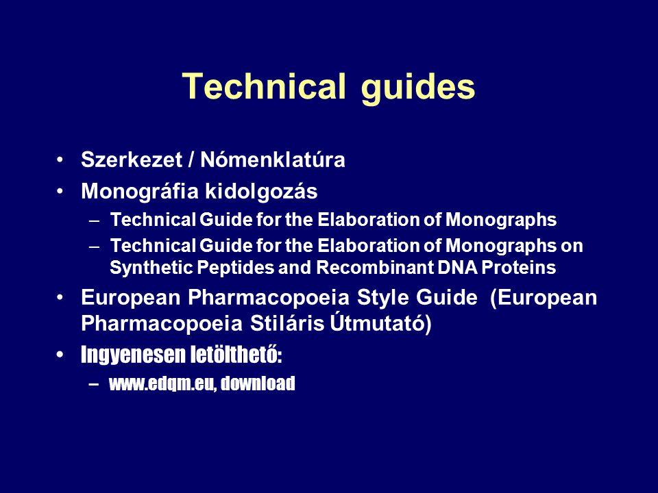 Technical guides Szerkezet / Nómenklatúra Monográfia kidolgozás –Technical Guide for the Elaboration of Monographs –Technical Guide for the Elaboratio