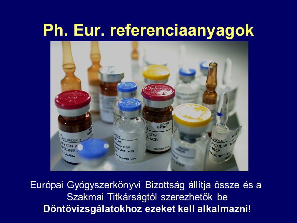 Ph. Eur. referenciaanyagok Európai Gyógyszerkönyvi Bizottság állítja össze és a Szakmai Titkárságtól szerezhetők be Döntővizsgálatokhoz ezeket kell al