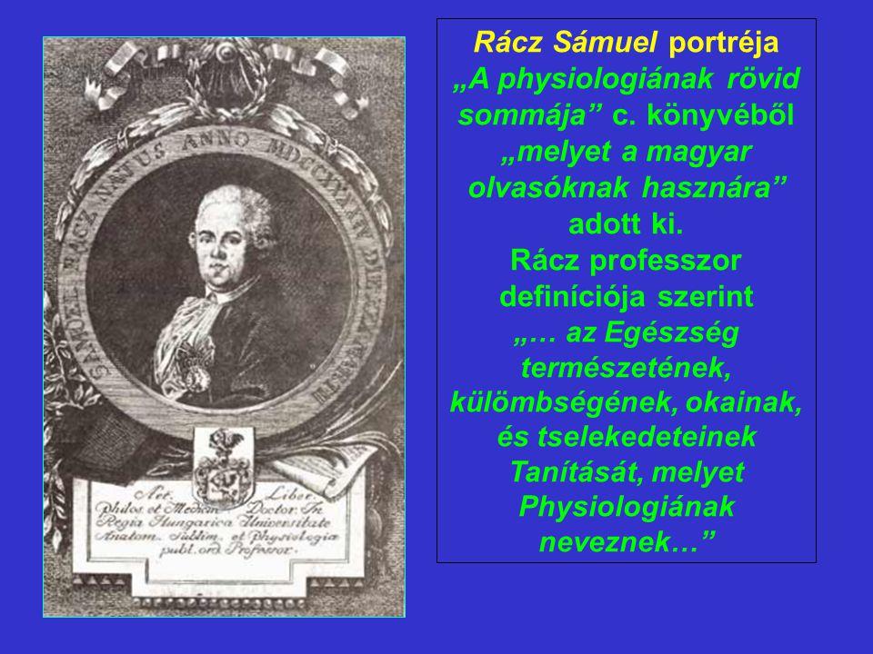 """Rácz Sámuel portréja """"A physiologiának rövid sommája"""" c. könyvéből """"melyet a magyar olvasóknak hasznára"""" adott ki. Rácz professzor definíciója szerint"""