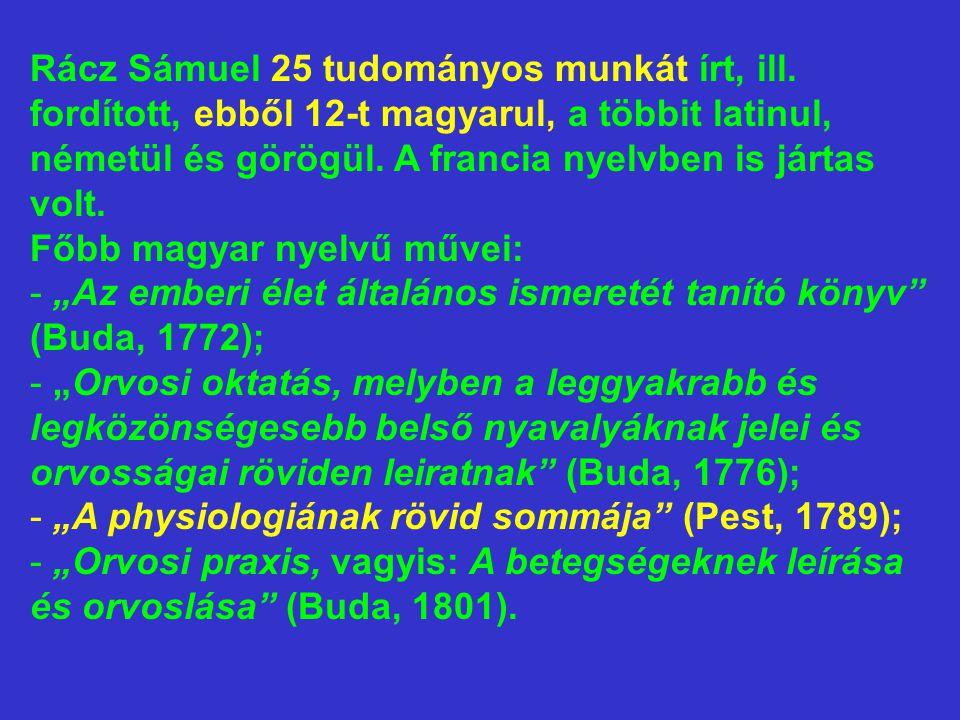 Rácz Sámuel 25 tudományos munkát írt, ill. fordított, ebből 12-t magyarul, a többit latinul, németül és görögül. A francia nyelvben is jártas volt. Fő