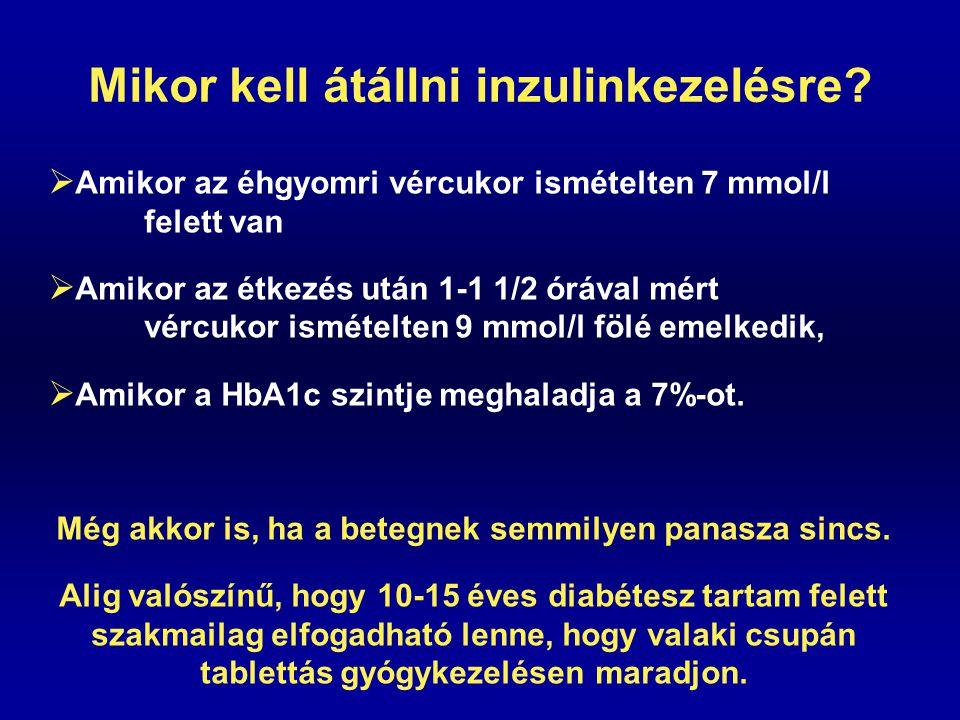 Mikor kell átállni inzulinkezelésre?  Amikor az éhgyomri vércukor ismételten 7 mmol/l felett van  Amikor az étkezés után 1-1 1/2 órával mért vércuko