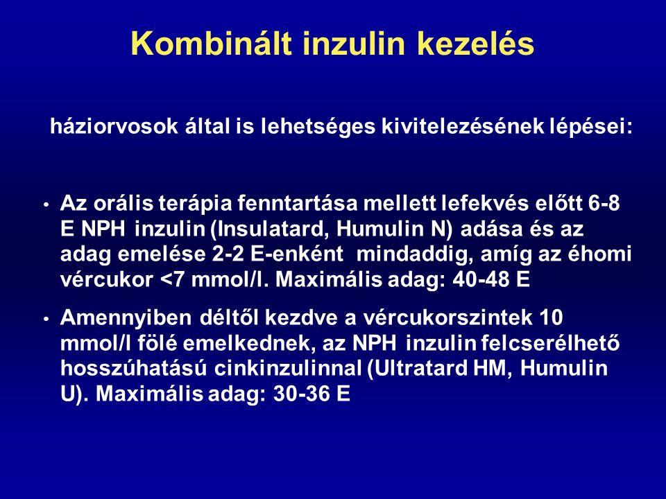 Kombinált inzulin kezelés háziorvosok által is lehetséges kivitelezésének lépései: Az orális terápia fenntartása mellett lefekvés előtt 6-8 E NPH inzu