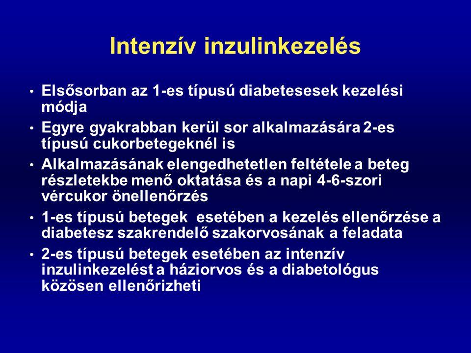 Intenzív inzulinkezelés Elsősorban az 1-es típusú diabetesesek kezelési módja Egyre gyakrabban kerül sor alkalmazására 2-es típusú cukorbetegeknél is