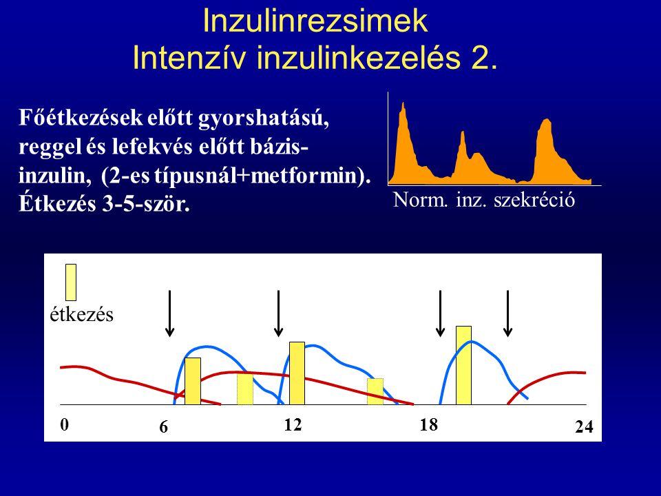 Inzulinrezsimek Intenzív inzulinkezelés 2. 0 6 1218 24 Főétkezések előtt gyorshatású, reggel és lefekvés előtt bázis- inzulin, (2-es típusnál+metformi