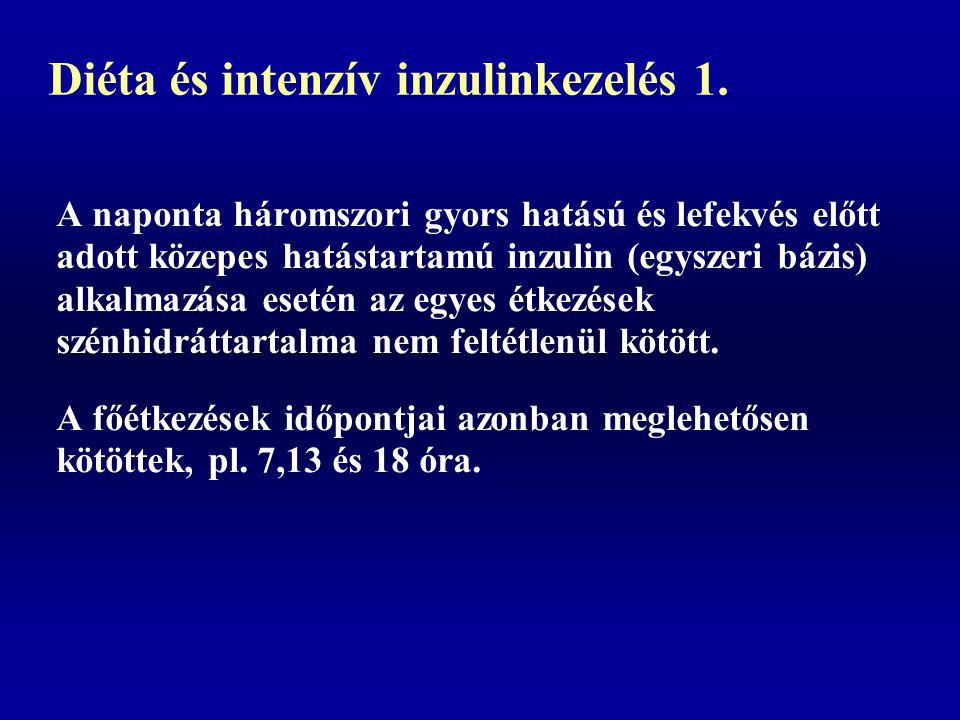 Diéta és intenzív inzulinkezelés 1. A naponta háromszori gyors hatású és lefekvés előtt adott közepes hatástartamú inzulin (egyszeri bázis) alkalmazás