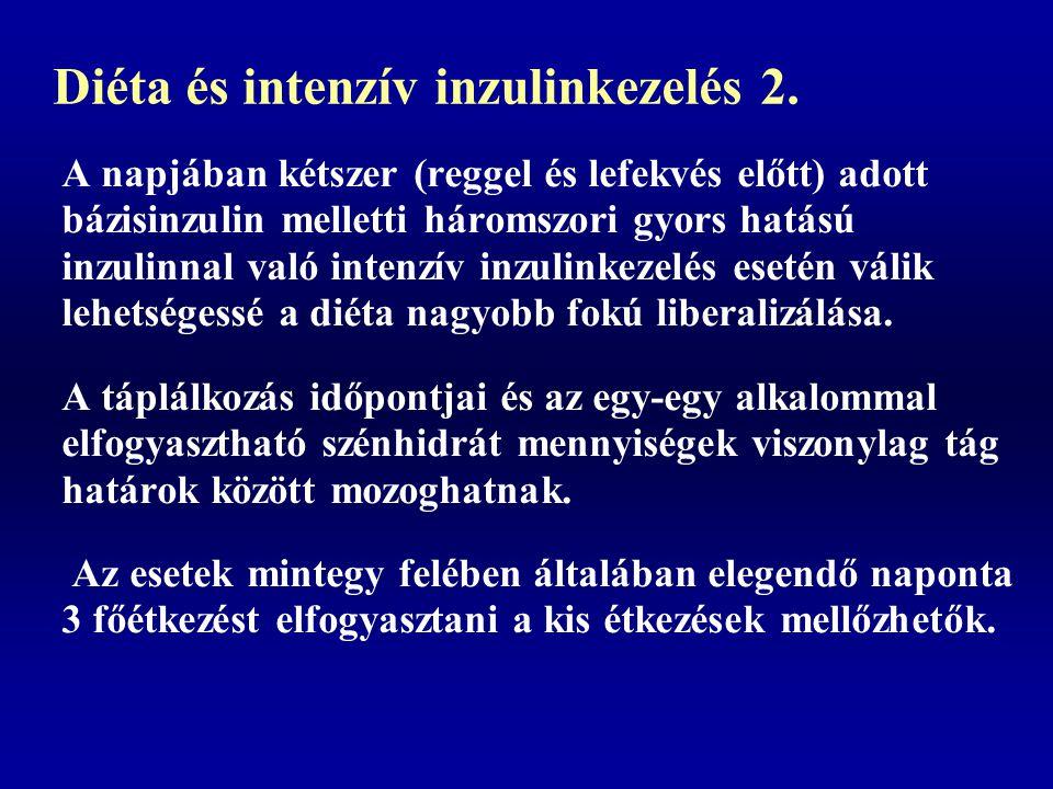 Diéta és intenzív inzulinkezelés 2. A napjában kétszer (reggel és lefekvés előtt) adott bázisinzulin melletti háromszori gyors hatású inzulinnal való