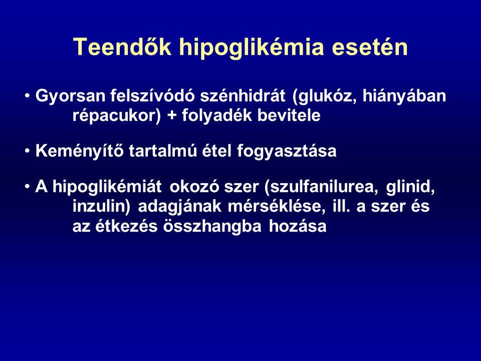 Teendők hipoglikémia esetén Gyorsan felszívódó szénhidrát (glukóz, hiányában répacukor) + folyadék bevitele Keményítő tartalmú étel fogyasztása A hipo