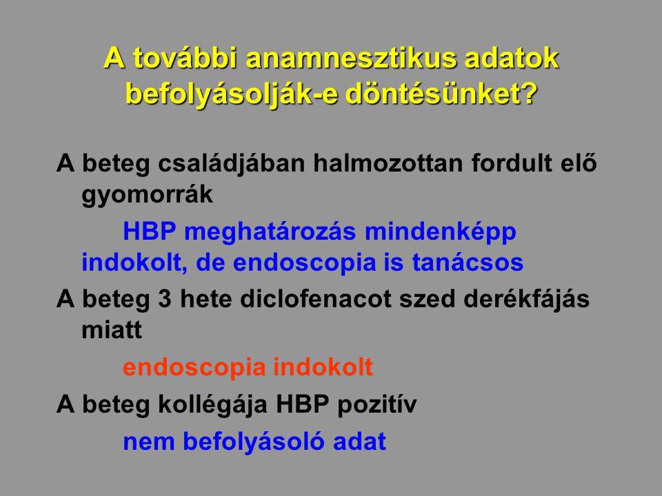 A további anamnesztikus adatok befolyásolják-e döntésünket? A beteg családjában halmozottan fordult elő gyomorrák HBP meghatározás mindenképp indokolt