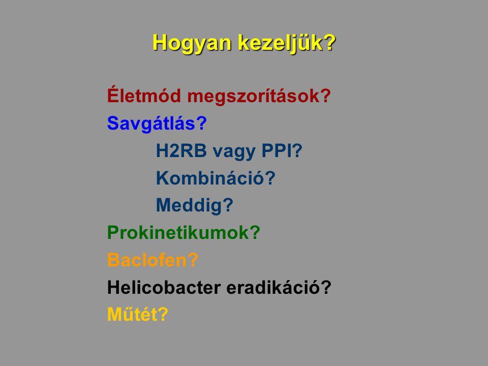Hogyan kezeljük? Életmód megszorítások? Savgátlás? H2RB vagy PPI? Kombináció? Meddig? Prokinetikumok? Baclofen? Helicobacter eradikáció? Műtét?