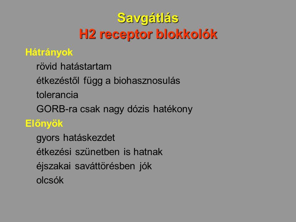 Savgátlás H2 receptor blokkolók Hátrányok rövid hatástartam étkezéstől függ a biohasznosulás tolerancia GORB-ra csak nagy dózis hatékony Előnyök gyors