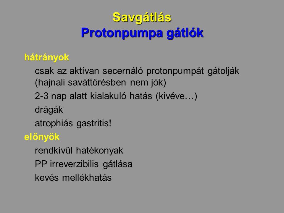 Savgátlás Protonpumpa gátlók hátrányok csak az aktívan secernáló protonpumpát gátolják (hajnali saváttörésben nem jók) 2-3 nap alatt kialakuló hatás (