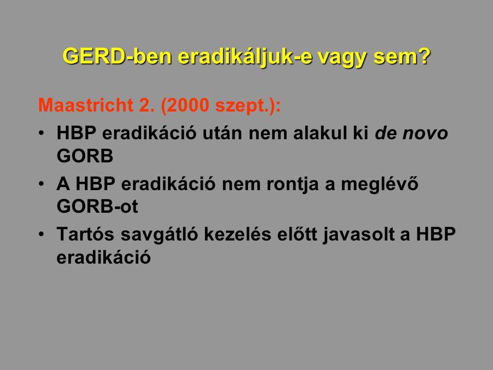GERD-ben eradikáljuk-e vagy sem? Maastricht 2. (2000 szept.): HBP eradikáció után nem alakul ki de novo GORB A HBP eradikáció nem rontja a meglévő GOR