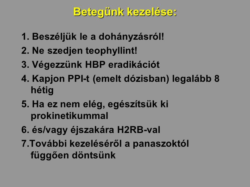 Betegünk kezelése: 1. Beszéljük le a dohányzásról! 2. Ne szedjen teophyllint! 3. Végezzünk HBP eradikációt 4. Kapjon PPI-t (emelt dózisban) legalább 8