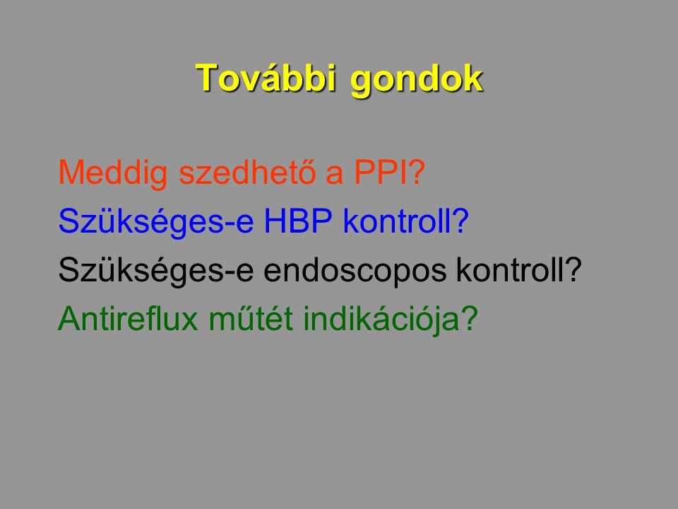 További gondok Meddig szedhető a PPI? Szükséges-e HBP kontroll? Szükséges-e endoscopos kontroll? Antireflux műtét indikációja?