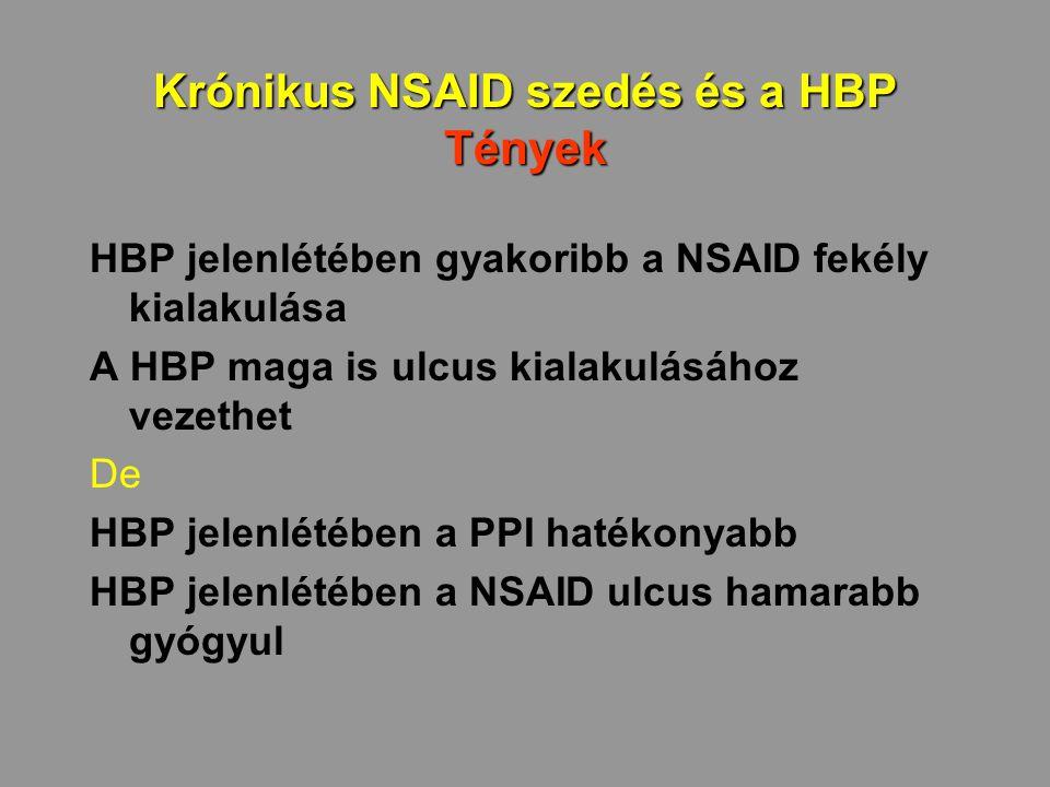 Krónikus NSAID szedés és a HBP Tények HBP jelenlétében gyakoribb a NSAID fekély kialakulása A HBP maga is ulcus kialakulásához vezethet De HBP jelenlé