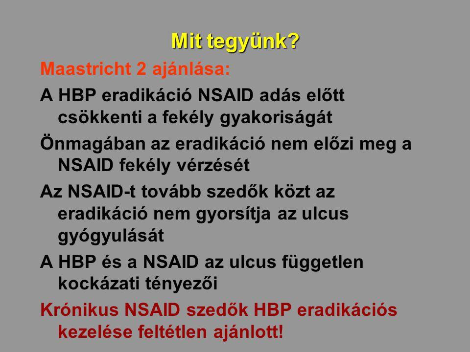 Mit tegyünk? Maastricht 2 ajánlása: A HBP eradikáció NSAID adás előtt csökkenti a fekély gyakoriságát Önmagában az eradikáció nem előzi meg a NSAID fe