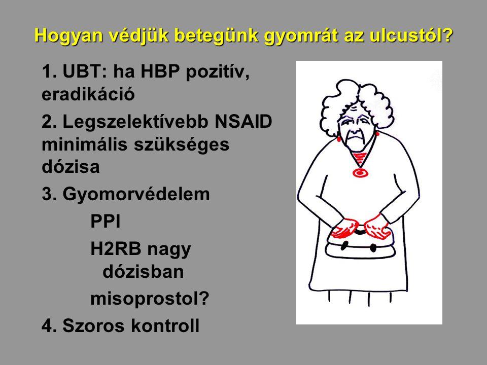 Hogyan védjük betegünk gyomrát az ulcustól? 1. UBT: ha HBP pozitív, eradikáció 2. Legszelektívebb NSAID minimális szükséges dózisa 3. Gyomorvédelem PP