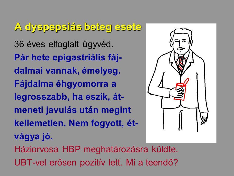 A dyspepsiás beteg esete 36 éves elfoglalt ügyvéd. Pár hete epigastriális fáj- dalmai vannak, émelyeg. Fájdalma éhgyomorra a legrosszabb, ha eszik, át
