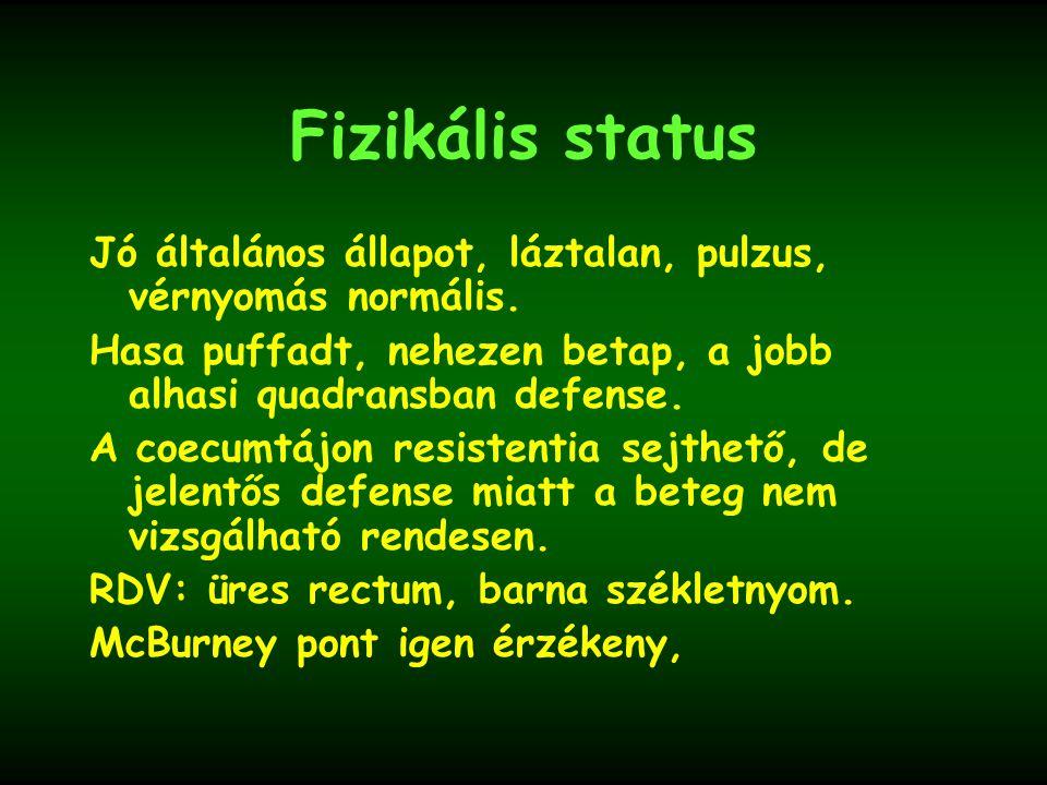 Fizikális status Jó általános állapot, láztalan, pulzus, vérnyomás normális. Hasa puffadt, nehezen betap, a jobb alhasi quadransban defense. A coecumt