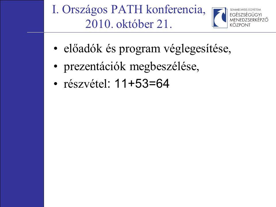 I. Országos PATH konferencia, 2010. október 21. előadók és program véglegesítése, prezentációk megbeszélése, részvétel : 11+53=64