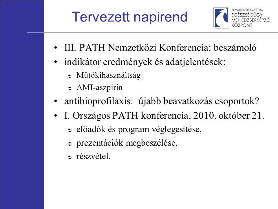 Tervezett napirend III. PATH Nemzetközi Konferencia: beszámoló indikátor eredmények és adatjelentések:  Műtőkihasználtság  AMI-aszpirin antibioprofi