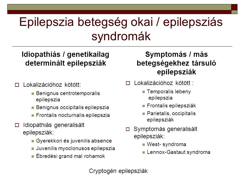 Epilepszia betegség okai / epilepsziás syndromák Idiopathiás / genetikailag determinált epilepsziák  Lokalizációhoz kötött: Benignus centrotemporalis
