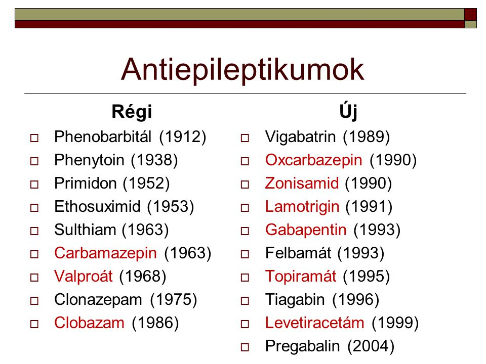 Antiepileptikumok Régi  Phenobarbitál (1912)  Phenytoin (1938)  Primidon (1952)  Ethosuximid (1953)  Sulthiam (1963)  Carbamazepin (1963)  Valp