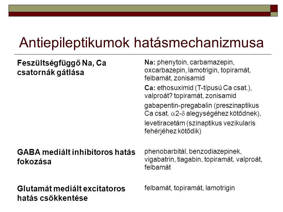 Antiepileptikumok hatásmechanizmusa Feszültségfüggő Na, Ca csatornák gátlása Na: phenytoin, carbamazepin, oxcarbazepin, lamotrigin, topiramát, felbamá