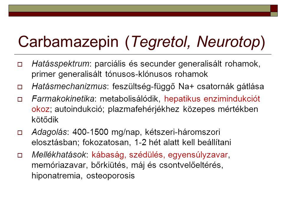 Carbamazepin (Tegretol, Neurotop)  Hatásspektrum: parciális és secunder generalisált rohamok, primer generalisált tónusos-klónusos rohamok  Hatásmec