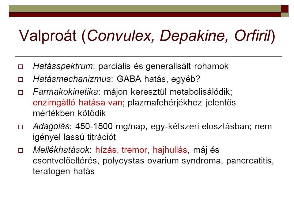 Valproát (Convulex, Depakine, Orfiril)  Hatásspektrum: parciális és generalisált rohamok  Hatásmechanizmus: GABA hatás, egyéb?  Farmakokinetika: má