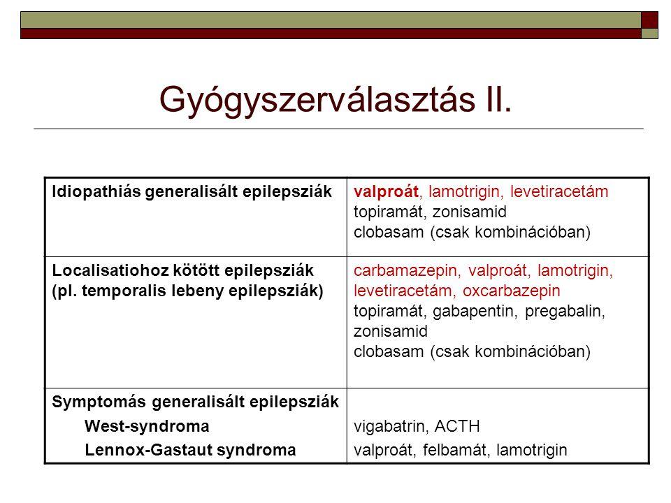 Gyógyszerválasztás II. Idiopathiás generalisált epilepsziákvalproát, lamotrigin, levetiracetám topiramát, zonisamid clobasam (csak kombinációban) Loca