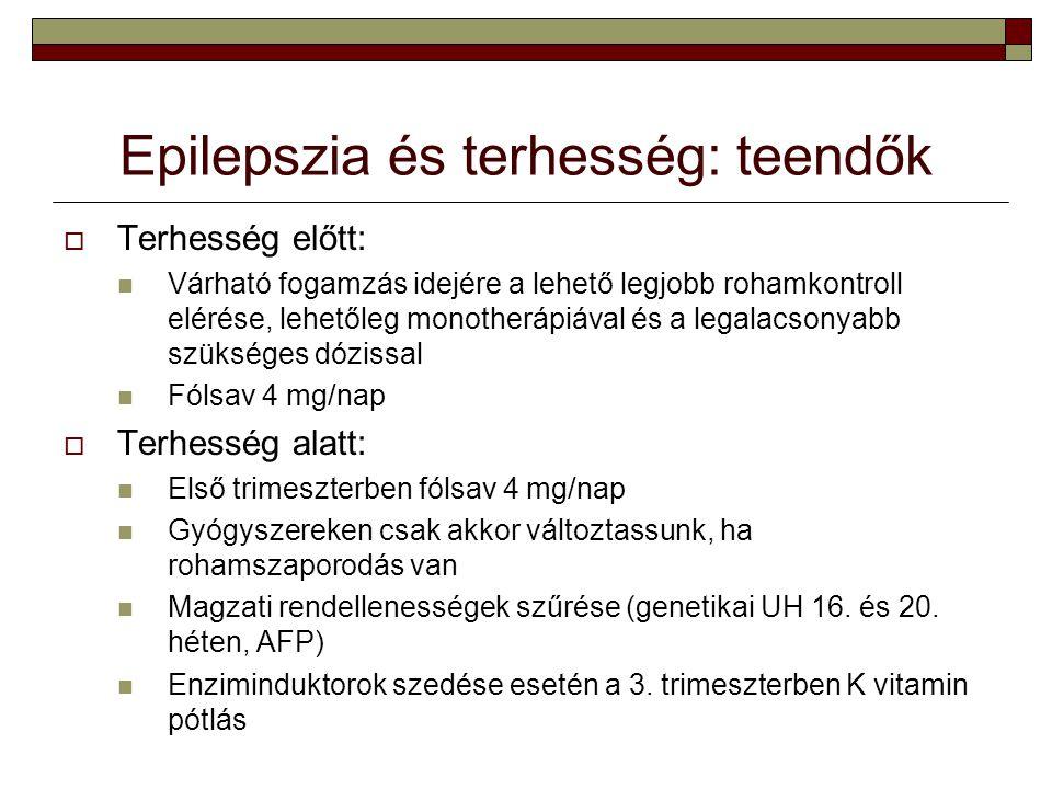 Epilepszia és terhesség: teendők  Terhesség előtt: Várható fogamzás idejére a lehető legjobb rohamkontroll elérése, lehetőleg monotherápiával és a le