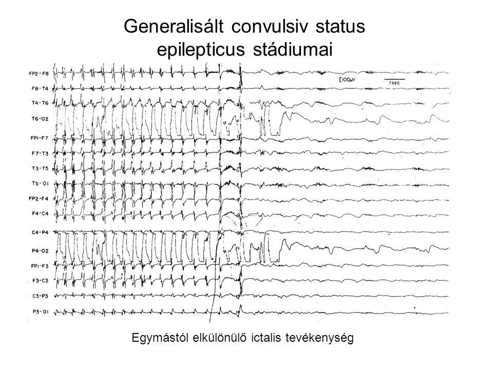 Generalisált convulsiv status epilepticus stádiumai Egymástól elkülönülő ictalis tevékenység