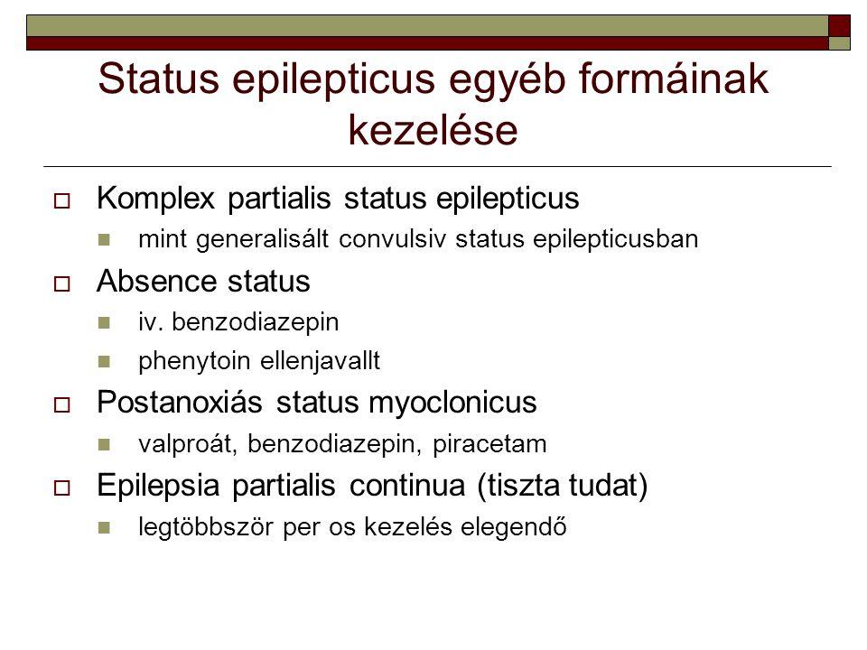 Status epilepticus egyéb formáinak kezelése  Komplex partialis status epilepticus mint generalisált convulsiv status epilepticusban  Absence status