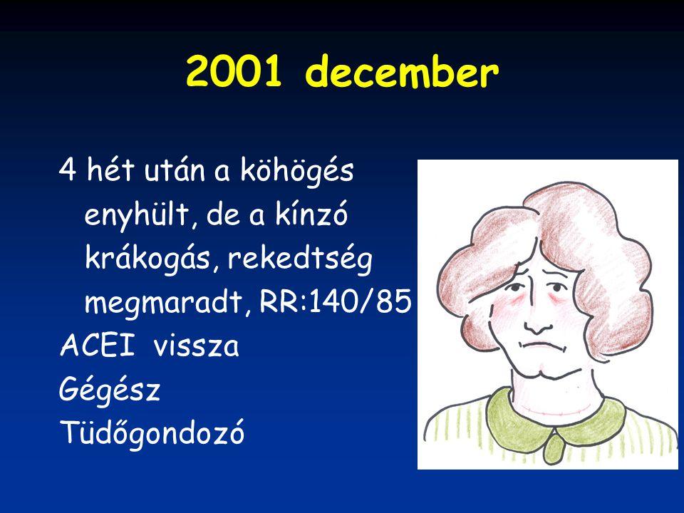 2001 december 4 hét után a köhögés enyhült, de a kínzó krákogás, rekedtség megmaradt, RR:140/85 ACEI vissza Gégész Tüdőgondozó