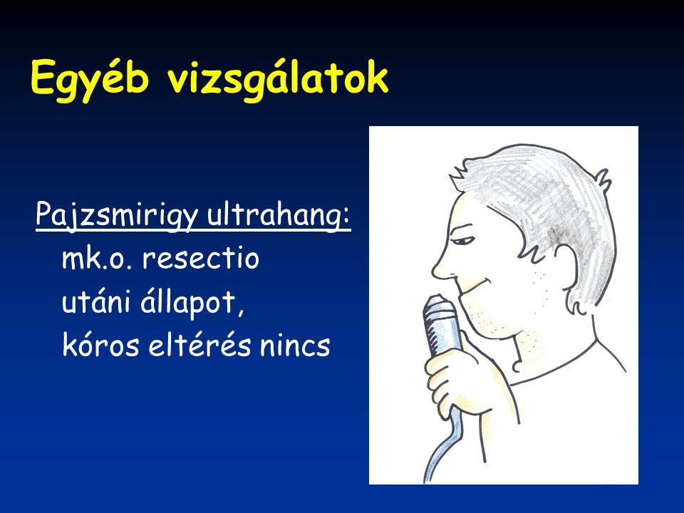 Egyéb vizsgálatok Pajzsmirigy ultrahang: mk.o. resectio utáni állapot, kóros eltérés nincs