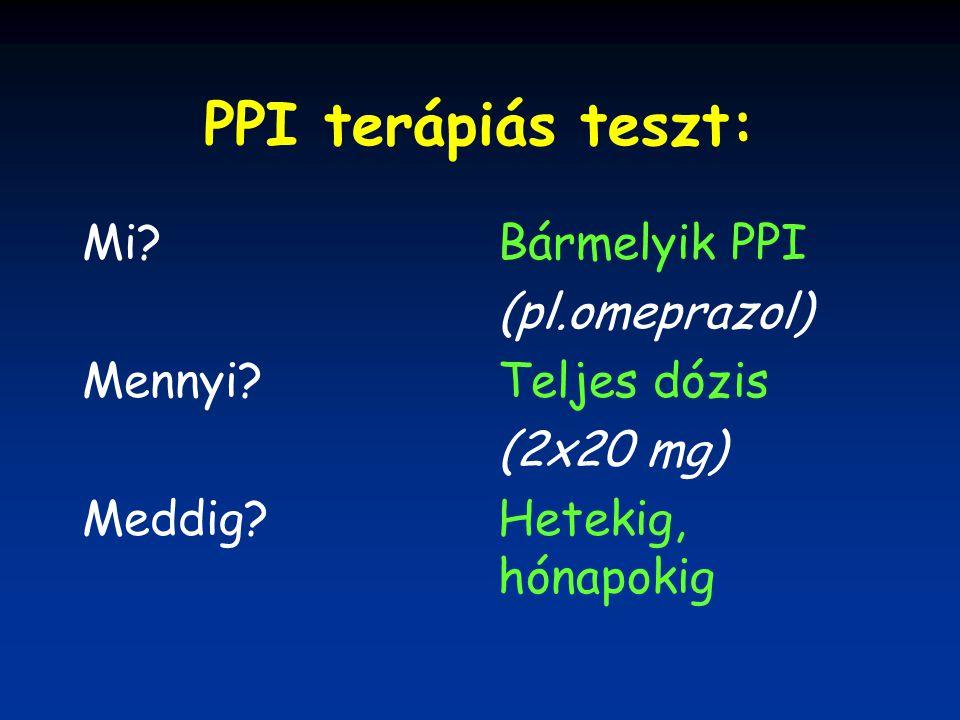 PPI terápiás teszt: Mi? Mennyi? Meddig? Bármelyik PPI (pl.omeprazol) Teljes dózis (2x20 mg) Hetekig, hónapokig