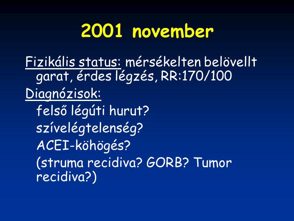 2001 november Fizikális status: mérsékelten belövellt garat, érdes légzés, RR:170/100 Diagnózisok: felső légúti hurut? szívelégtelenség? ACEI-köhögés?
