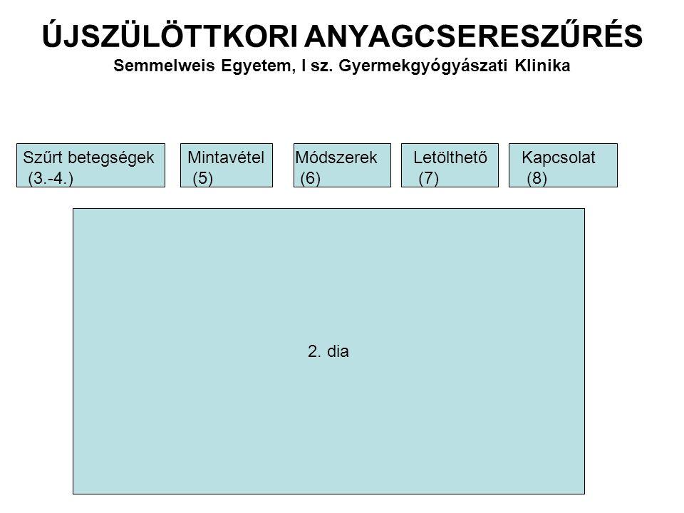 ÚJSZÜLÖTTKORI ANYAGCSERESZŰRÉS Semmelweis Egyetem, I sz. Gyermekgyógyászati Klinika 2. dia Szűrt betegségek (3.-4.) Mintavétel (5) Módszerek (6) Letöl