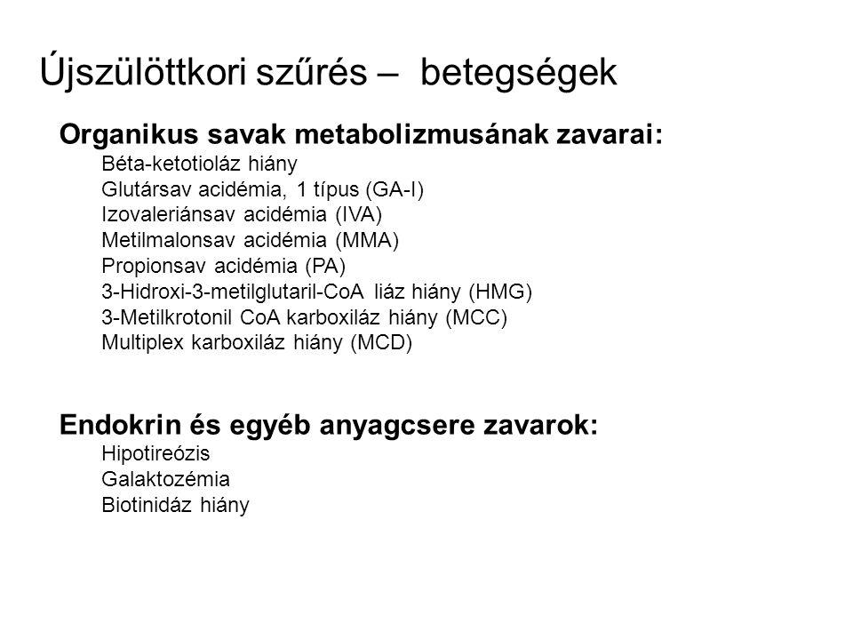 Organikus savak metabolizmusának zavarai: Béta-ketotioláz hiány Glutársav acidémia, 1 típus (GA-I) Izovaleriánsav acidémia (IVA) Metilmalonsav acidémi