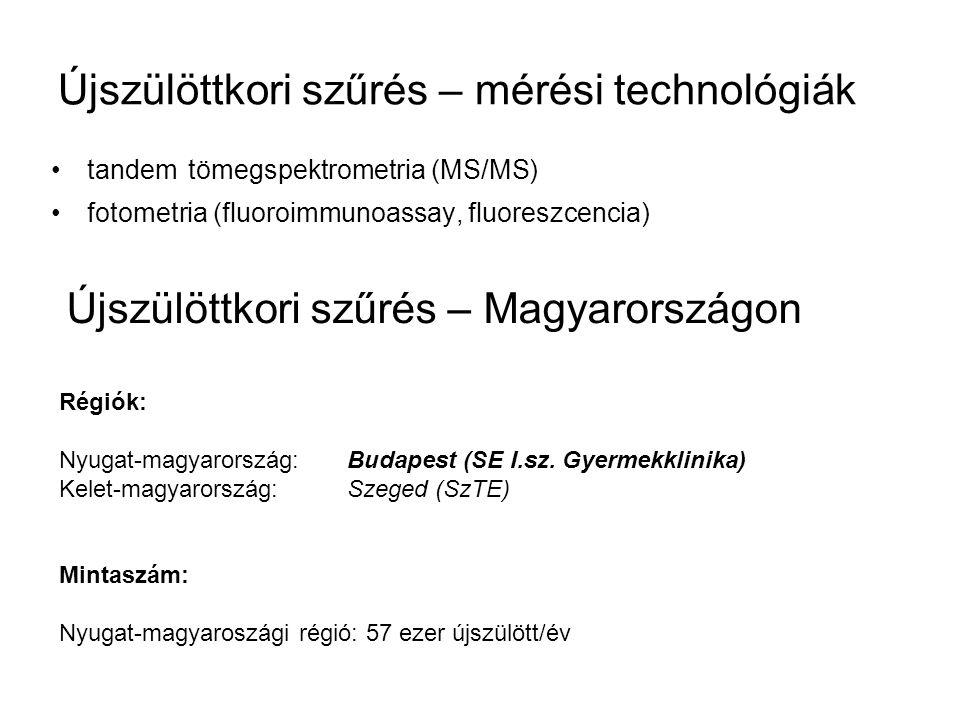 Újszülöttkori szűrés – mérési technológiák tandem tömegspektrometria (MS/MS) fotometria (fluoroimmunoassay, fluoreszcencia) Újszülöttkori szűrés – Mag