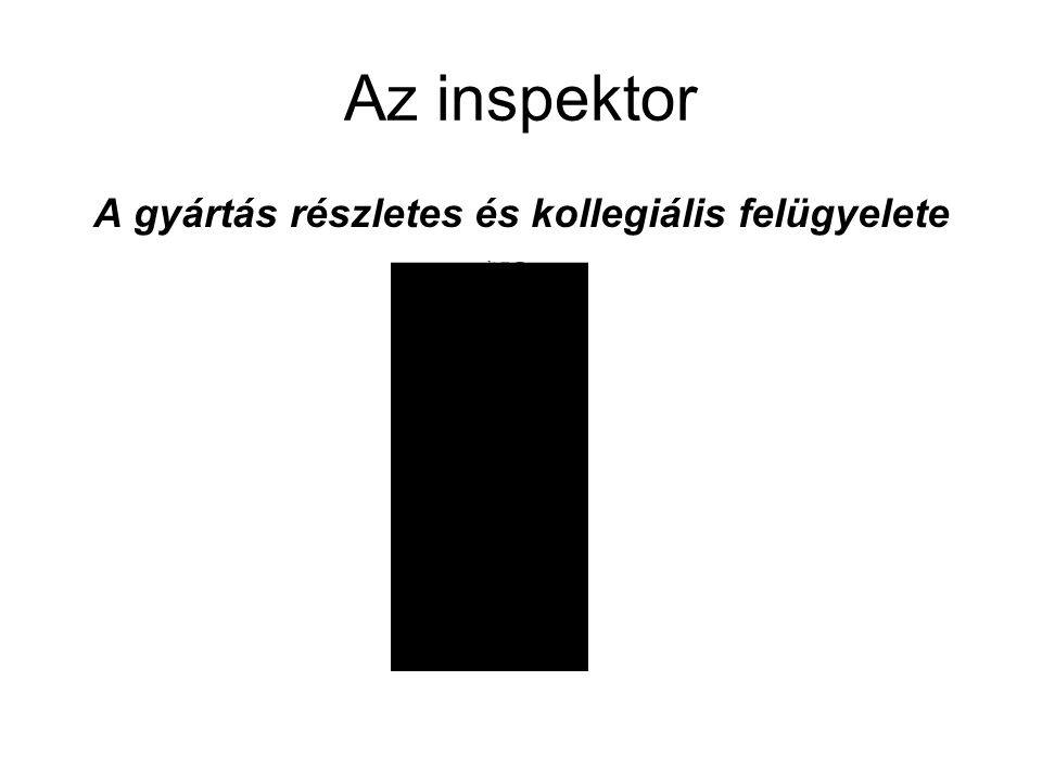 Az inspektor A gyártás részletes és kollegiális felügyelete